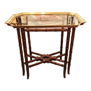 Brass & Glass Chinoiserie Cocktail Table