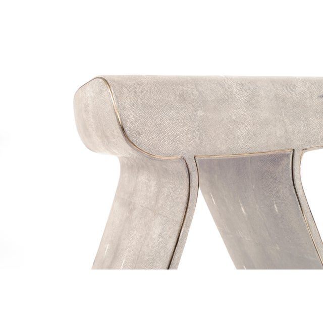 Contemporary Dandy Stool in Cream Shagreen With Bronze-Patina Brass Details by Kifu Paris For Sale - Image 3 of 11