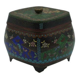 1870 Japanese Cloisonné Meiji Period Spice Box For Sale
