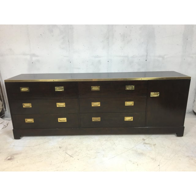 Baker Attributed Campaign Style Dresser - Image 6 of 6
