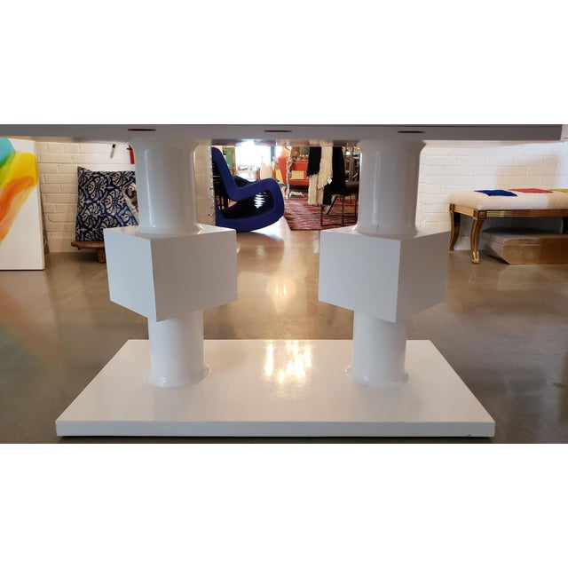 Modern Lacquered White Pedestal Table With Bronze Glass Top For Sale - Image 3 of 5