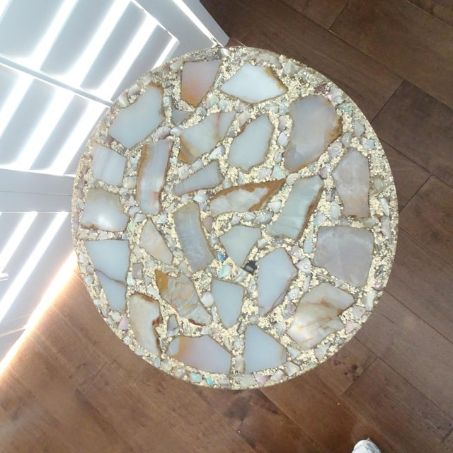 Folk Art 1970s Mexican Marble Side Table For Sale - Image 3 of 9