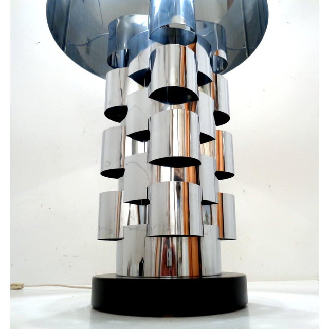 Skyscraper Interplay lamp by C. Jere, c. 1970. Amazing design with substantial chromed steel body and shade - definitely a...