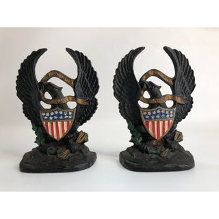 1920s American Eagle & Painted Flag Cast Iron Hubley Bookends - a Pair Preview