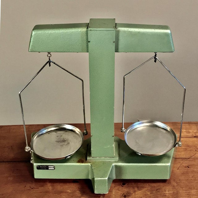 Green Antique Commercial Balance Scale by H. L. Becker in Brussels For Sale - Image 8 of 10
