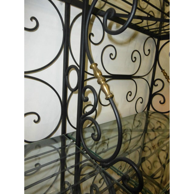 Vintage Baker's Rack Solid Wrought Iron W Solid Brass Hardware Bookcase - Image 8 of 11