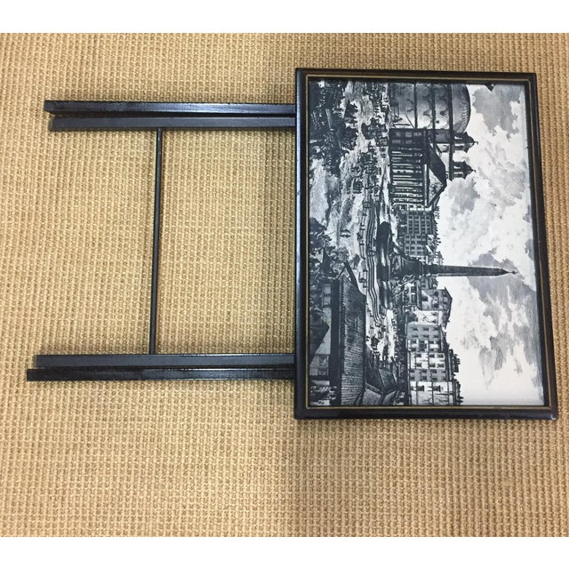 Pair, Mid Century Black Folding X Base tables - Image 7 of 9