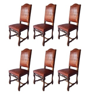 Walnut & Leather Dining Chairs - Set of 6 For Sale