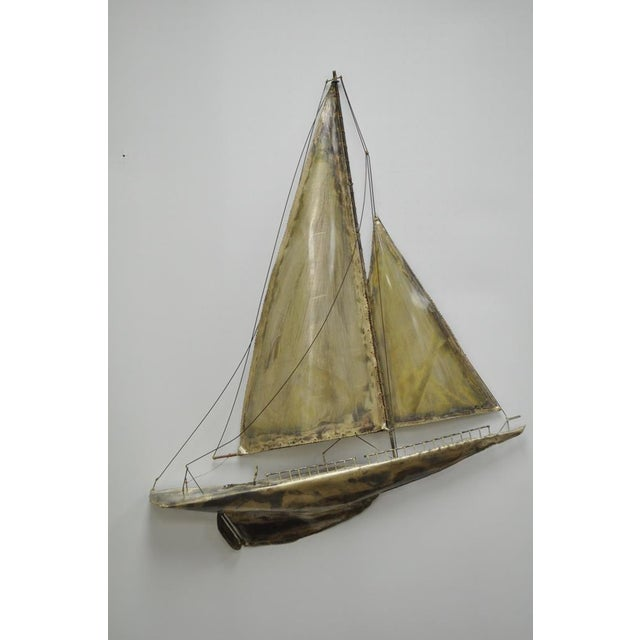 Vintage RaMan Brutalist Mid Century Modern Clipper Ship Wall Sculpture Jere Style - Image 3 of 11