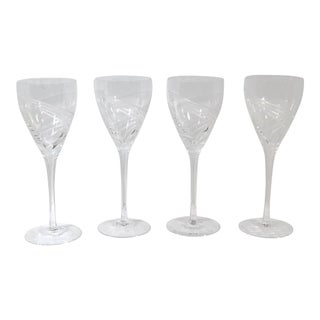 Lenox Windswept Blown Crystal Clear Wine Glasses - Set of 4 For Sale
