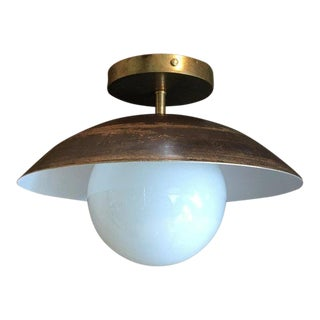 Sasco Brass and Glass Globe Semi-Flush Mount Pendant Light For Sale