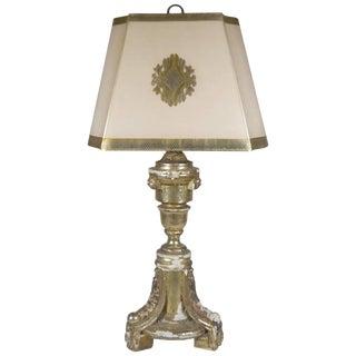 Antique Silver Gilt Wood Tripod Lamp For Sale