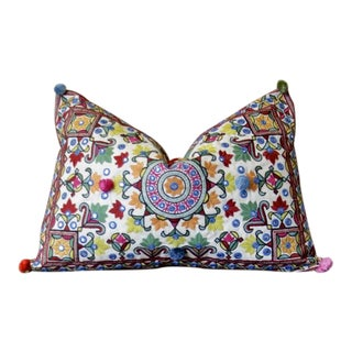 Chakra Pom-Pom Embroidered Pillow For Sale