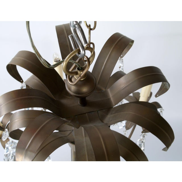 Brass Palm Leaf Chandelier - Image 8 of 10
