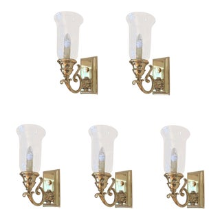 Solid Large Brass Sconces - Set of 5 For Sale