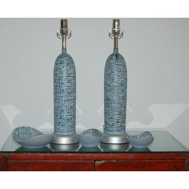 The Marbro Lamp Company Marbro Italian Ceramic Table Lamps and Bowls Blue For Sale - Image 4 of 12