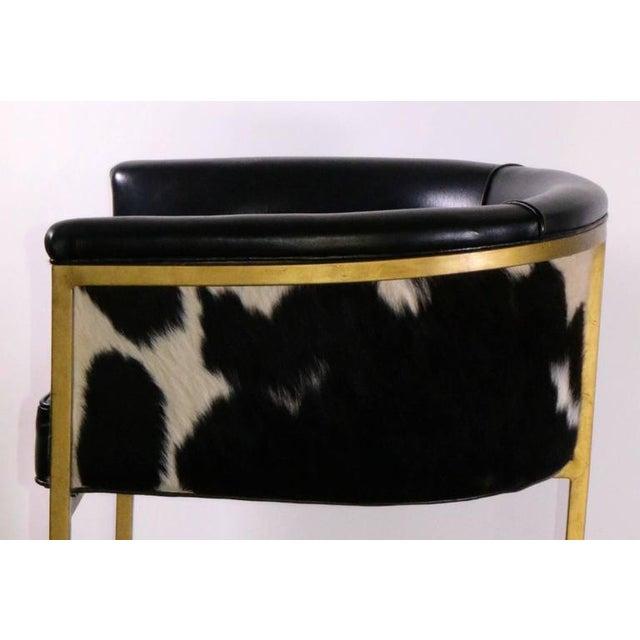 Bauhaus Modern Brass & Leather Stools - a Pair - Image 5 of 9