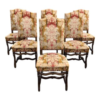 1900s Vintage French Louis XIII Style Os De Mouton Dining Chairs - Set of 6 For Sale