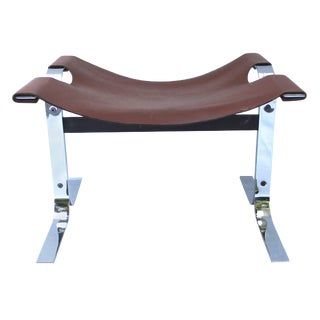 Modern Leather and Steel Sling Stool or Bench For Sale