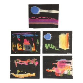 1960's Robert Cooke Original Pastel Abstract Paintings - Set of 5 For Sale