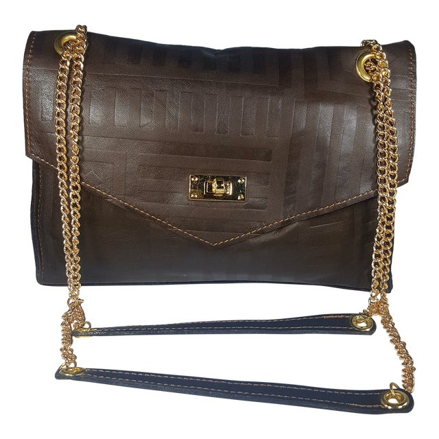 Handcrafted Brown Envelope Embossed Leather Crossbody/ Double Handle Handbag For Sale