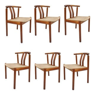 Uldum Danish Modern Teak Curved Back Rosewood Inlay Dining Chairs - Set of 6 For Sale