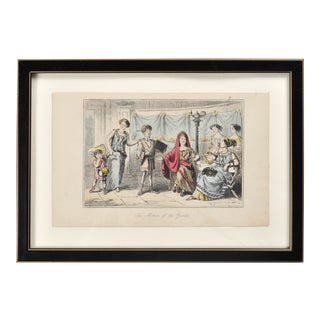 """1840 """"The Mother of the Gracchi"""" Figurative Engraving After John Leech, Framed For Sale"""