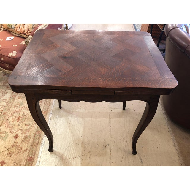 Wood French Country Small Parquetry Walnut Refractory Table For Sale - Image 7 of 11