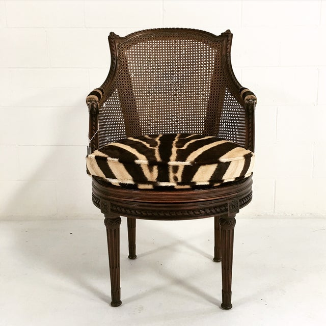 George Jacob Mahogany & Cane Swivel Bergere For Sale - Image 4 of 8