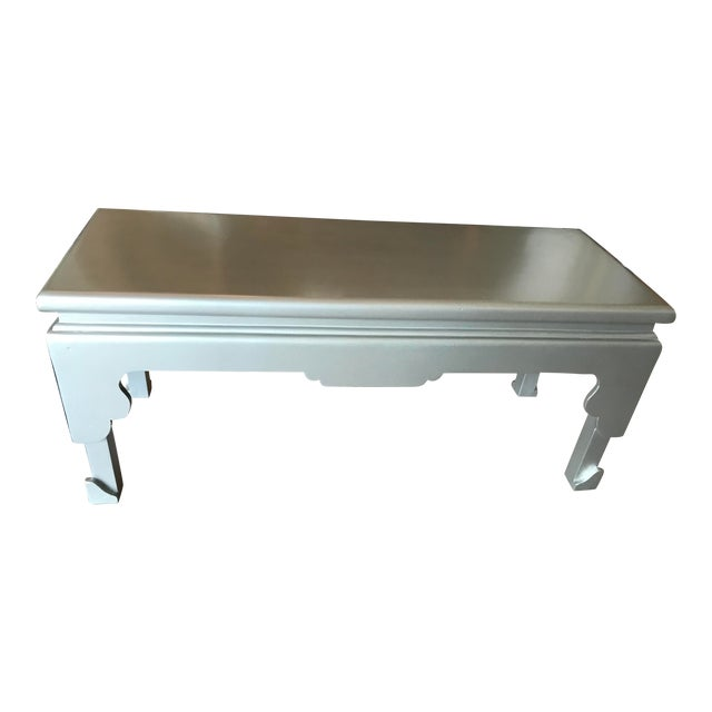 Painted Silver Rectangular Cocktail Table For Sale