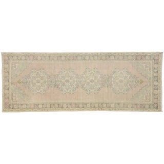 Distressed Vintage Turkish Oushak Runner - 3′5″ × 8′11″ For Sale
