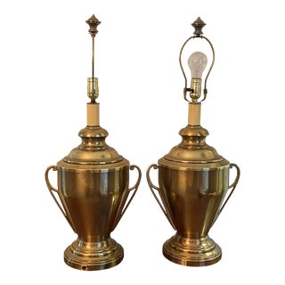 Vintage Brass Trophy Style Lamps - a Pair For Sale