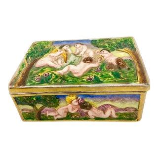Antique Italia Raised Porcelain Covered Box