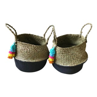 Small Dipped Sea Grass Belly Baskets - a Pair
