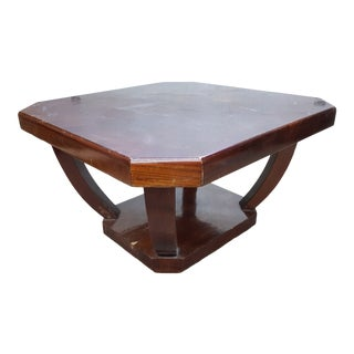 1940's French Art Deco Walnut Coffee Table For Sale