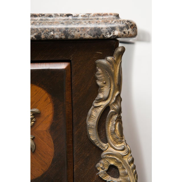 French Louis XV Style Two-Drawer Commode With Varigated Marble Top For Sale - Image 3 of 13