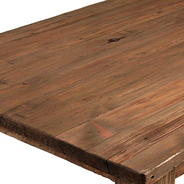 Reclaimed old wood dining table with turned ball legs and a natural finish. Each unique in exact wood tones, grain, and...