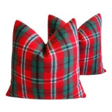 Image of Custom Tailored Scottish Tartan Plaid Wool Feather/Down Pillows - Pair For Sale