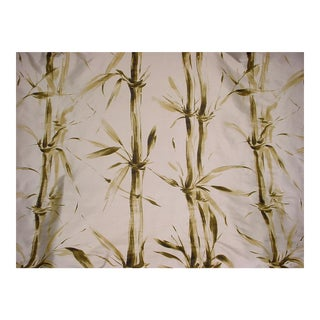 Kravet Couture Selva Handprinted Bamboo Leaf Silk Upholstery Fabric- 17 1/2 Yards For Sale