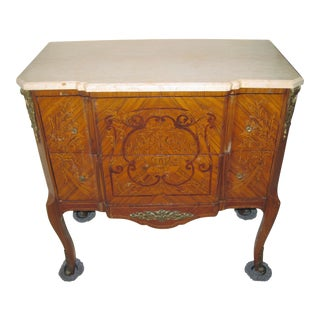 French Kingwood Marble Top Commode Chest of Drawers For Sale