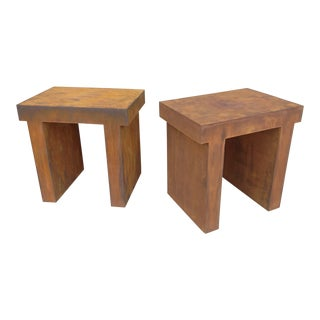 Modern Faux Metal Side Tables - a Pair For Sale