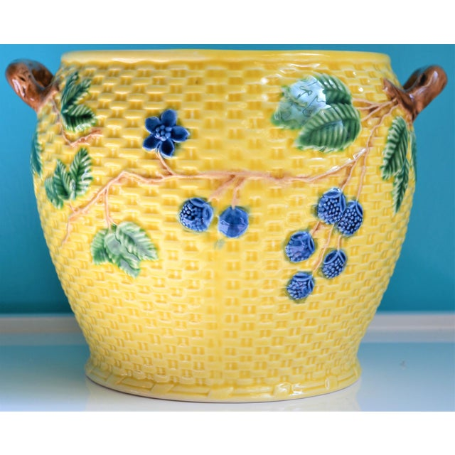 Tiffany and Co. Vintage Tiffany & Co. Blonde Basket Weave Majolica Cache Pot For Sale - Image 4 of 8