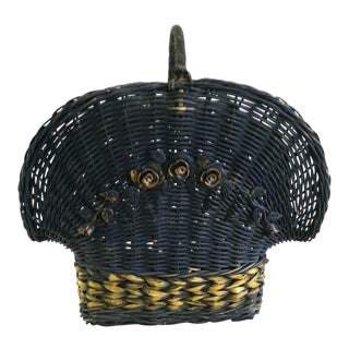 20th Century Victorian Flower Gathering Basket For Sale