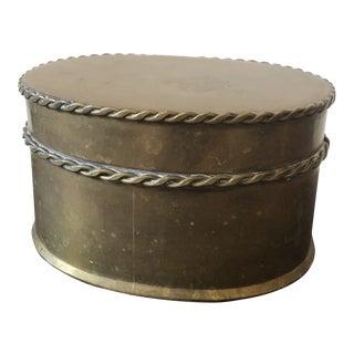 Mid-Century Modern Round Brass Lidded Box For Sale