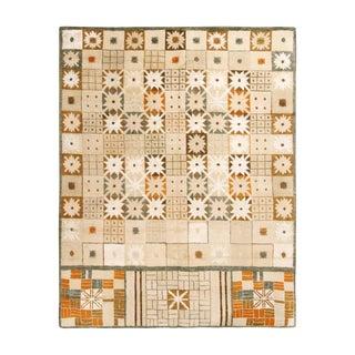 Rug & Kilim's Scandinavian-Inspired Geometric Cream Beige Brown Wool Pile Rug For Sale