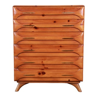 Franklin Shockey Rustic Modern Sculptured Pine Highboy Dresser, 1950s For Sale