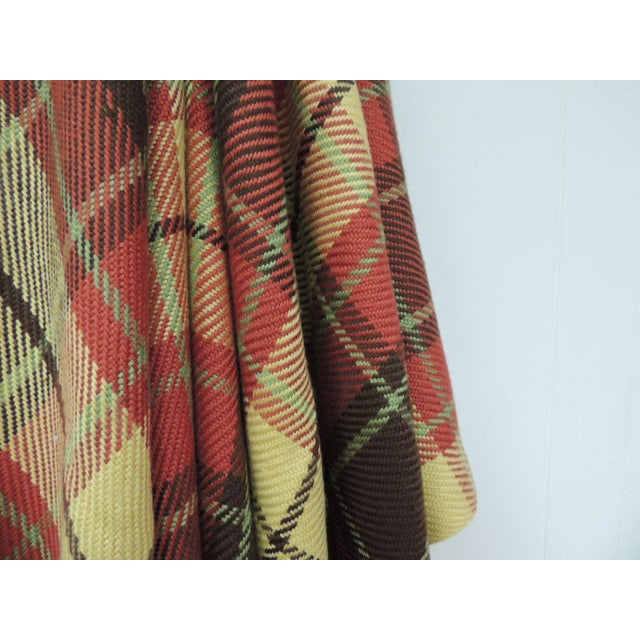 Large yellow and red plaid throw with hand-knotted fringes. Large scale plaid wool throw. In shades of yellow, green, red...