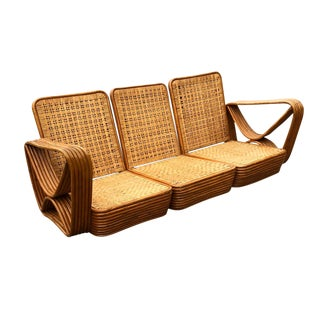 1930-1940s 6 Strand Rattan Sofa Vintage Palm Beach For Sale