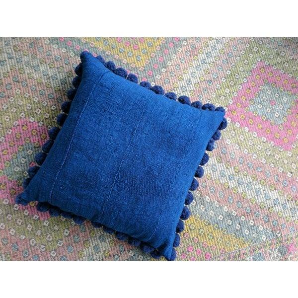 Solid Indigo Mudcloth Pom Poms Pillow - Image 3 of 6