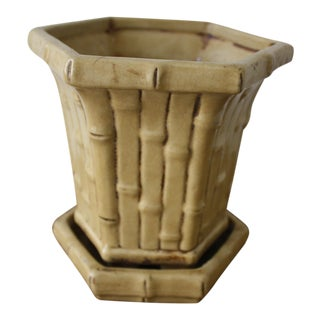 Faux Bamboo Ceramic Planter